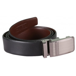 Plain Black Leather Belt With Block Designed AutoLock Buckle